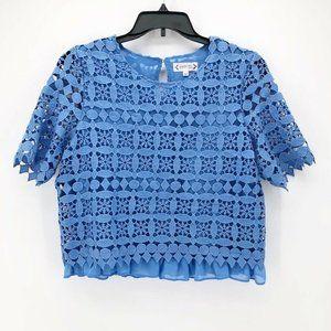 Nanette Lepore Tops - Nanette Lepore Womens Blouse Blue Crochet Floral L